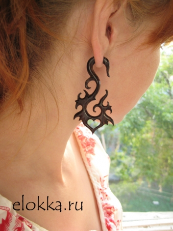 Fake Gauges - Ahava Curls - Brown Wooden Earrings