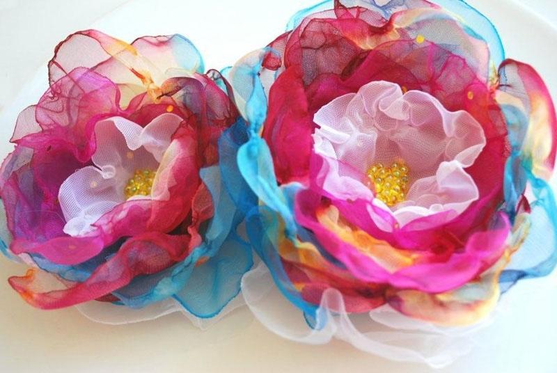 Как сделать цветы для украшения из органзы