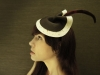 Cream Felt Sculptura Cocktail Hat by Brianna Kenyon